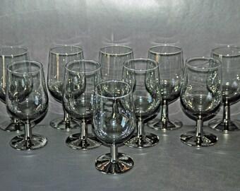 Ten (10) Vintage SILVER FADE Stemmed Goblets