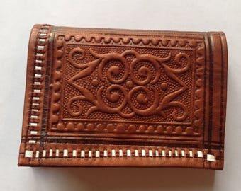 Small Moroccan Leather Wallet, Moroccan Purse, Boho Style, Bohemian Wallet