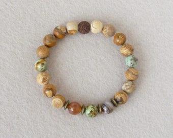 Jasper Bracelet, Turquoise Bracelet, Southwestern Jewelry, Native American, Surfer Bracelet, Elastic Bracelet, Mens Bracelet, Mala Bracelet