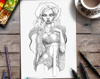 Art Coloring Page | Printable Coloring For Adults | Grayscale | Zan Von Zed