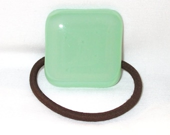 Glass ponytail Holder, Green Fused Glass, Handmade Hair Accessories, Women's Accessories, Square Flat Green Glass Hair Tie