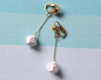White Gemstone Earrings, Dangle earrings, White and Gold, Everyday jewelry, Pierced Earrings, Clip on Earrings, Nickel Free, 18k Gold Plated