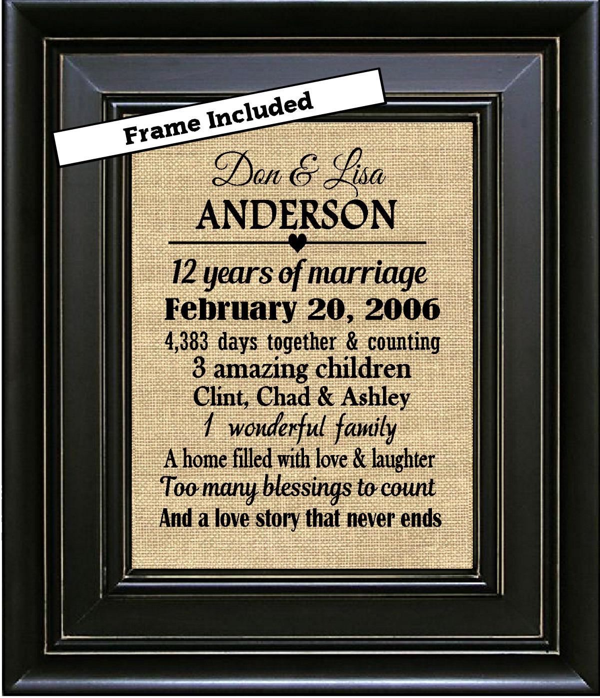 Gift For 12 Year Wedding Anniversary: FRAMED Personalized 12th Wedding Anniversary Gift/12th