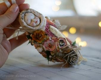 Vintage doll,  Spun cotton ornament,  Spun cotton figure, scrap doll
