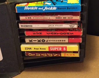 Vintage lot of Seven Classic 8mm Animated Films with Storage Box from the 1940's