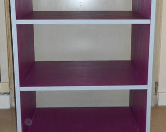 Gray and fuchsia pine wood shelf for kitchen, bedroom, living room or bathroom