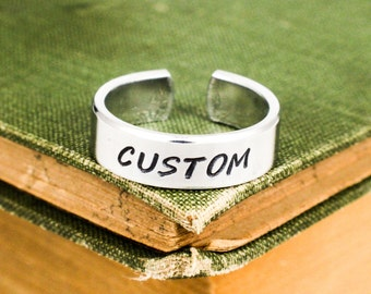 Personalized Ring - Custom Ring - Ring With Custom Text - Adjustable Ring