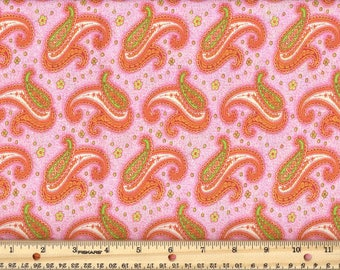 Paisley Dance - Pink  100% Cotton Fabric fat quarter