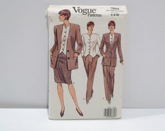 Jacket Top Skirt Pants Vogue 7844 Never Used 1990s Loose Long Jacket Fitted Vest Blouse Easy Sewing Pattern FF uncut Womens Size 6 8 10