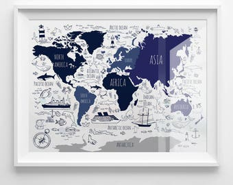 Navy world map etsy navy blue map for kids nautical nursery art printable world map boys room gumiabroncs Image collections