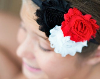 Black White and Red Headband - Baby Newborn Infant Toddlers Girls  - Lady Bug - Ladybug