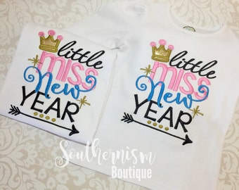 New Year Shirt, Girls New Year Outfit, Little Miss New Year, New Years Shirt, Personalized New Year Shirt,girls shirt, babys first new year