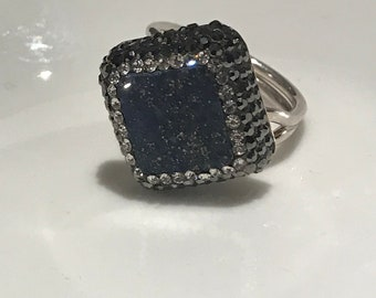 Turkish Handmade, Sterling Silver, Square Type Swarovski Crystal, Sax Blue Moon Gemstone Ring
