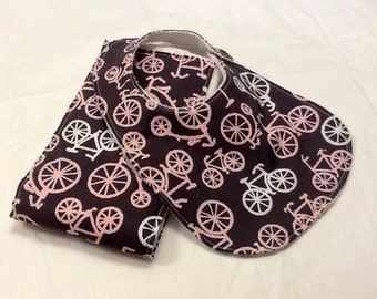 Baby bib and burp cloth set in Michael Miller bicycles in pink and gray