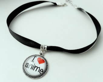 I love Anime Necklace Anime Charm Silver Pendant Anime Black Chocker