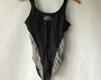 Vintage Black and Silver Bathing Suit - Size 10 - Jantzen - One Piece - Swimsuit - Swim Suit  - Retro - Medium - Large