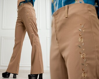 Vintage BOHO pants Embroidered bell bottom trousers Hippie pants beige High waist flared floral pants size 12 bell bottomed pants