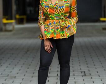 Ankara peplum top, african print top, wrap top