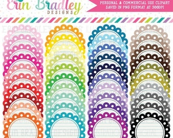 80% OFF SALE Notepaper Circle Clipart Bundle Personal & Commercial Use Scalloped Circle Clip Art Graphic