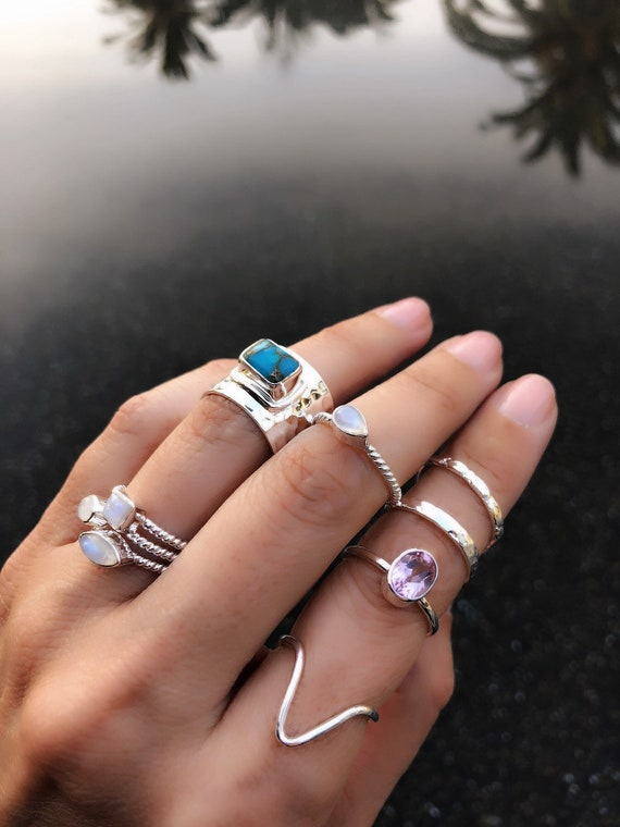 Silver moonstone rings, turquoise ring, boho wedding, silver rings