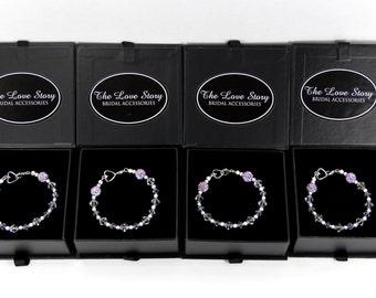 Bracelet, Customizable Bridesmaids Gift - Swarovski Crystal Bracelet with Lavender Pave' Crystals - Purple Bracelet, also avialable w/pearls