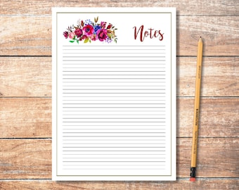 PDF Printable Notes: Berries and Navy