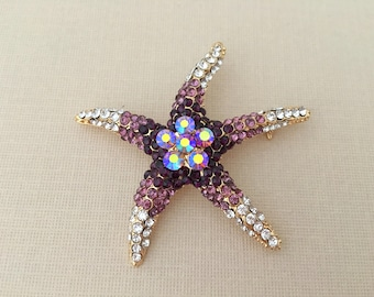 Purple Starfish Brooch.Starfish Brooch.Purple Gold Starfish broach.beach wedding.crystal.rhinestone.Purple Starfish pin.bridal accessory.sea