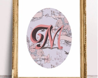 Letter M, Monogram, printable greeting, wallart decor, vintage floral, M for Mom for Marie - digital print instant download last minute