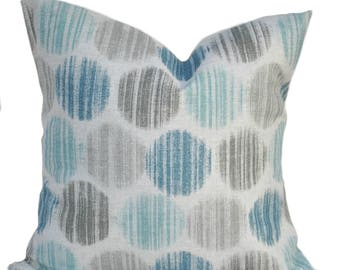 Coastal Polka dot pillow cover, cushion, decorative throw pillow, Grey Slate Blue pillow, accent pillow, Scott Brothers, Geometric pillow,