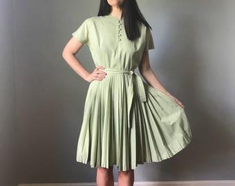 vintage 50s day dress   I. MAGNIN cotton swing dress   pleated full skirt dress