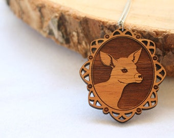 Laser cut wood necklace - Adorable little deer fawn bambi cameo, natural wooden finish