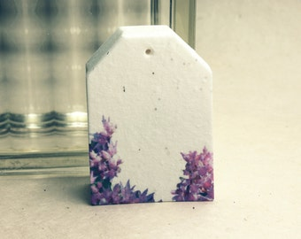 """Bellflower Tags 2.5"""" wide by 3.375"""" tall Wildflower Seed handmade paper for Weddings or Events set of 8"""