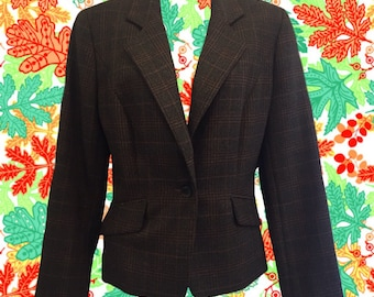 Vintage 80's Barry Bricken Blazer • Plaid Wool Blazer • Shades of Brown with Gold & Burgundy • Preppie Perfect