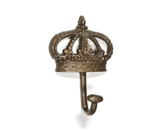 Crown Towel Hook Aged Brass Live Like Royalty Bedroom Decor Royal French Country Regal Elegance