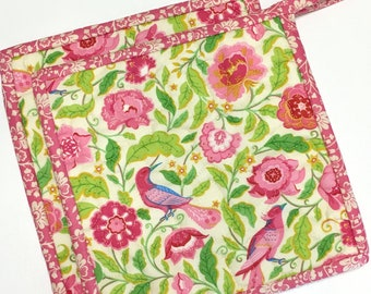 Rose Pink-Birds Floral Pot holders-Hot Pads-Modern Kitchen-Quilted (Set of Two) Handmade