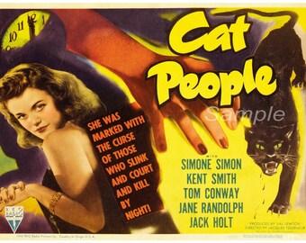 Vintage Cat People Movie Poster Print