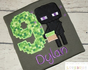 Custom Boys Minecraft Enderman Birthday Shirt ~ Monogrammed, Applique, Embroidered ~ Many sizes available!