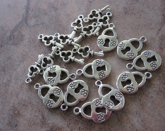 20 Antiqued Silver Plated Pewter Lock and Key Set Charms, 10 Sets - JD105 & JD106
