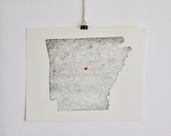 "Arkansas State Map Print / 8"" x 10"" / Unframed / Custom / Travel / Art / Chic / Modern / Rustic / Heart / Love / Home / Wedding / Gift"