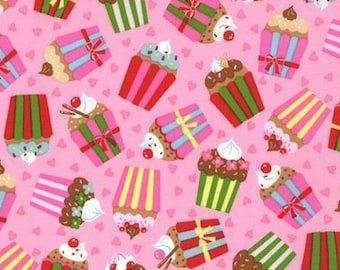 Fabric patchwork fabric cupcake, fabric pink Keiki Cherry On Top Moda