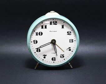 Alarm Clock Jantar Vintage Soviet Mechanical Alarm Clock USSR Desk Clock Vintage Russian Vintage Soviet Union Antique Clocks 70s