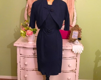 Vintage Dress & Jacket Business Dark Navy Blue Two Piece MS-M Vintage Office Dress Sophisticated Cropped Jacket w Wiggle Dress