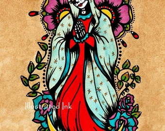 Day of the Dead Virgen de Guadalupe Old School Tattoo Art Virgin Mary Print 5 x 7, 8 x 10 or 11 x 14