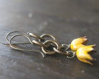 Botanical Garden Rain Chain Dangle Earrings with Artisanal Enamel Flowers and Thick Antique Brass Link Chain - Bright Yellow Buttercup Bliss