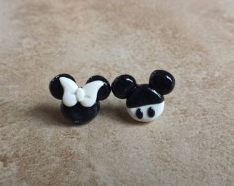 Black and White Mickey and Minnie Mouse Inspired Earrings