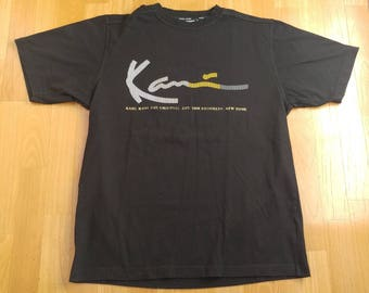 KARL KANI t-shirt, vintage shirt of 90s hip-hop clothing, 1990s hip hop, gangsta rap, black cotton, sewn, old school, size M Medium