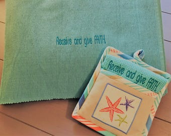 Seaside Kitchen Towel and Oven Mitt Set with Embroidery: Receive and give FAITH.