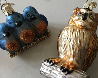 Metal BIRD TREE ORNAMENTS - Set of 2, Metal Holiday Decor, Christmas Tree, Decoration, Ornament Set, Blue Birds, Birding, Bird Watching, Owl