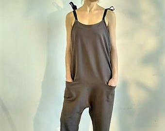 Bermuda Loose women overalls with black tie-wraps deep taupe fit surf style brown jumpsuit row umber romper Kobicha Brown-nose