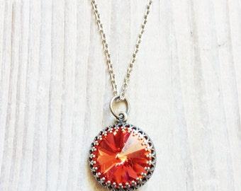 Kate Vintage Crown Swarovski Necklace in Coral Blush and Antiqued Silver